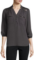 Hollywould Long-Sleeve Zip-Pocket Blouse - Juniors