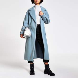 River Island Womens Blue balloon sleeve tie belted longline coat