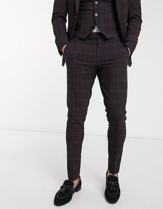 ASOS DESIGN wedding super skinny suit trousers in burgundy tartan
