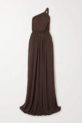 Matteau One-shoulder Gathered Jersey Maxi Dress - Brown