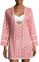 Letarte Floral Lace Tunic Coverup, Pink