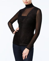 GUESS Riva Mesh Turtleneck Top