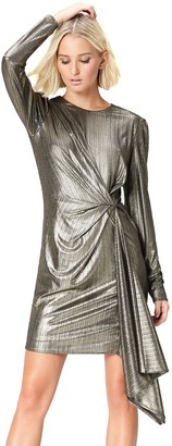 Find. Amazon Brand Women's Dress with Gathered Metallic Drape Crew Neck