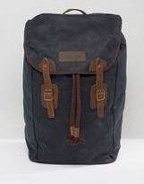 Barbour Wax Backpack With Leather Details Navy