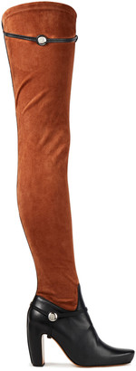 Lanvin Paneled Leather And Stretch-suede Over-the-knee Boots