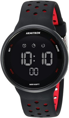 Armitron Sport Unisex 40/8423BRD Red Accented Digital Chronograph Black Silicone Strap Watch