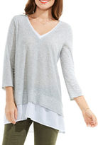 Two By Vince Camuto Double Layer Mix Media V-Neck Top