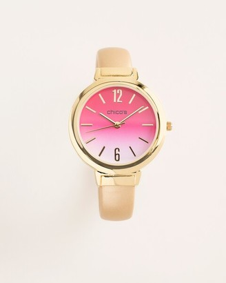 Chico's Berry Pink and Goldtone Cuff Watch