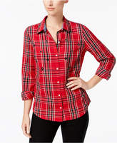 Charter Club Cotton Beaded Plaid Shirt, Created for Macy's