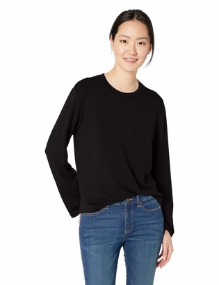 Daily Ritual Amazon Brand Women's Supersoft Terry Long-Sleeve Boxy Pocket Tee