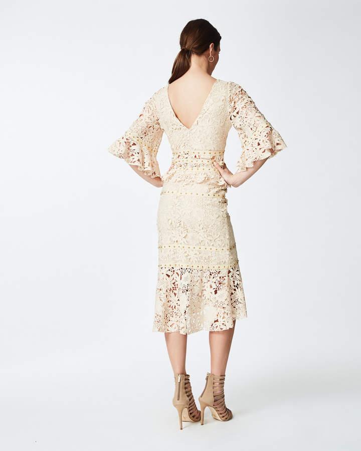 Nicole Miller Lace Flutter Sleeve Dress