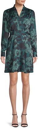 Equipment Floral-Print Belted Faux-Wrap Mini Dress
