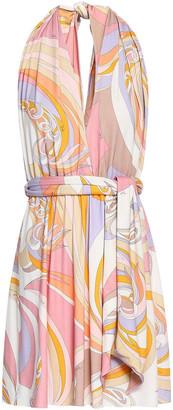 Emilio Pucci Belted Printed Stretch-jersey Halterneck Mini Dress
