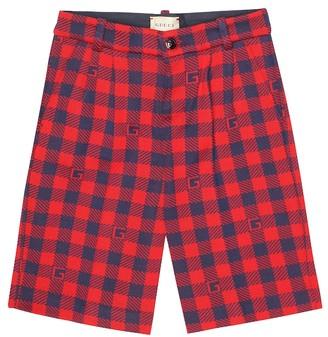 Gucci Kids Checked cotton knit shorts