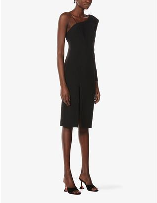 La Perla One Shoulder Stretch-Silk Midi Dress