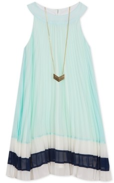 Rare Editions Little Girls Colorblocked Pleated Chiffon Necklace Dress