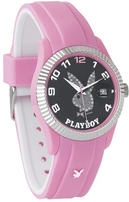 Playboy PlayboyPink even38bp EveningUnisex WatchAnalogue QuartzBlack DialSilicone Wristband