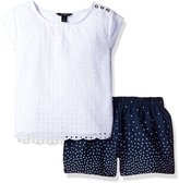 Nautica Big Girls' Knit Top with Scallop Edge Detail and Dot Woven Short Set