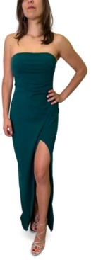 Emerald Sundae Juniors' Strapless Slit-Hem Dress