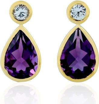 Artisan 18Kt Yellow Gold Pear Shape Dangle Earring Amethyst White Sapphire Jewelry