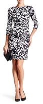 Nicole Miller Boatneck 3/4 Length Sleeve Dress