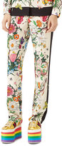 Gucci Flora Snake Silk Pajama Pants, White/Multi