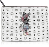 MCM White Rabbit Pouch Medium Crossbody