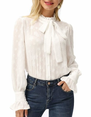 Liumilac Women's Bow Tie High Neck Long Sleeve Casual Chiffon Blouses Work Tops White 2XL