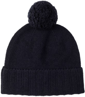 Johnstons of Elgin Cashmere Pom Pom Hat Navy