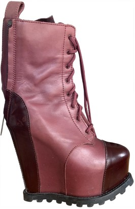 Acne Studios Burgundy Leather Ankle boots