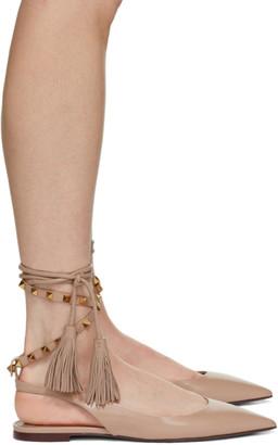 Valentino Pink Garavani Fringe Ballerina Flats