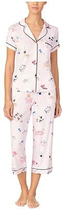 Kate Spade Modal Jersey Notch Collar Capris PJ Set (Picnic) Women's Pajama Sets