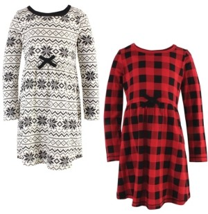 Touched by Nature Big Girls Buffalo Plaid Youth Long-Sleeve Dresses, Pack of 2