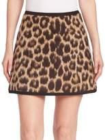 N°21 Virgin Wool & Alpaca Leopard-Print Mini Skirt