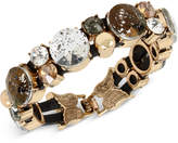 Betsey Johnson Gold-Tone Patina Stone Cluster Stretch Bracelet