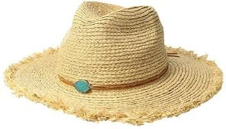San Diego Hat Company RHF6125OS Raffia Braid w/ Stone Trim (Natural) Caps
