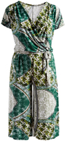 Glam Green Abstract Tie-Waist Gaucho Jumpsuit - Plus