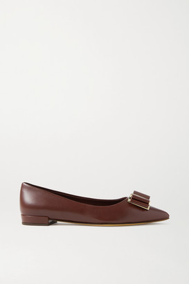 Salvatore Ferragamo Zeri Bow-embellished Leather Point-toe Flats - Merlot