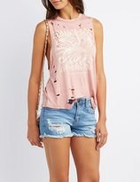 Charlotte Russe Destroyed Graphic Tank Top