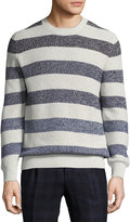 Brunello Cucinelli Degrade-Stripe Crewneck Sweater, Fog/Gray