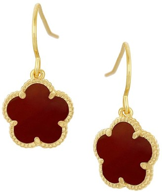 Jan Kou Flower Goldplated & Coral Agate Dangle Earrings