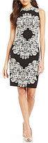 Adrianna Papell Lace Printed Mock Neck Sheath Dress