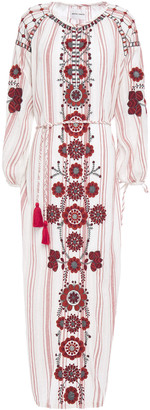 Antik Batik Camilla Embroidered Striped Cotton-gauze Midi Dress