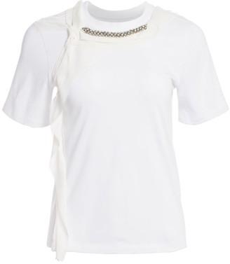 3.1 Phillip Lim Rhinestone-Embellished Cording Cotton T-Shirt