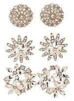 Charlotte Russe Embellished Flower Stud Earrings - 3 Pack