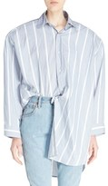 Vetements Women's Classic Stripes Oversized Asymmetrical Collared Shirt