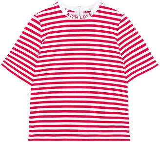 Maje Tamari Embroidered Striped Stretch-cotton Jersey T-shirt