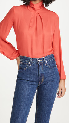 Cushnie Draped High Neck Long Sleeved Blouse