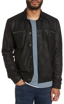 John Varvatos Men's Leather Trucker Jacket