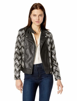 Nanette Lepore Women's Vegan Leather Biker Jacket with Sequins